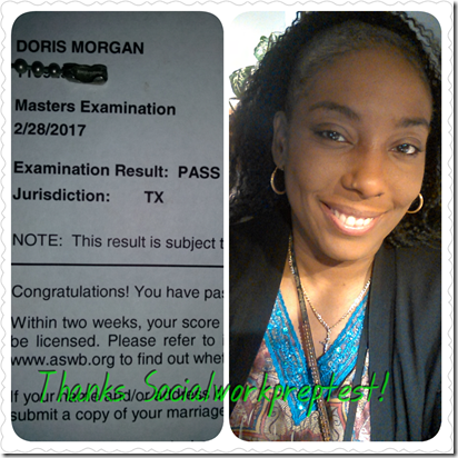 doris passed the masters exam